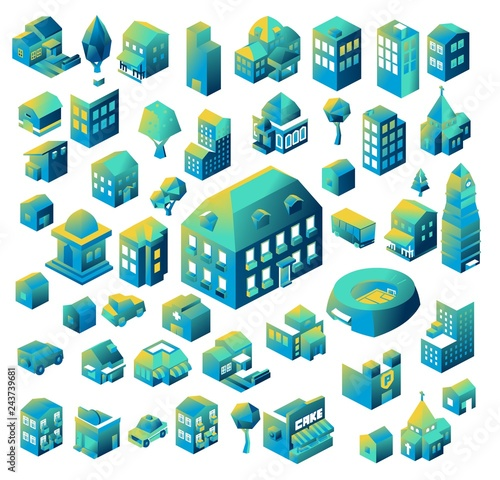Colorful Isometric building collection. vector illustration