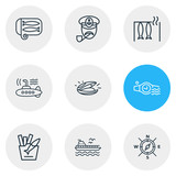 Vector illustration of 9 naval icons line style. Editable set of mussel, smoked fish, captain and other icon elements. - 243742018