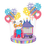 cute circus cat with layer and balloons helium