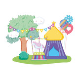 cute carnival kiosk with balloons helium - 243745257