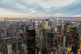 Fototapeta Nowy York - Amazing NYC Evening Aerial Helicopter Skyline in Winter Sunset © STOCKeurope24