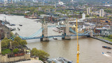 Fototapeta Londyn - Aerial view of Tower Bridge in London © mkos83
