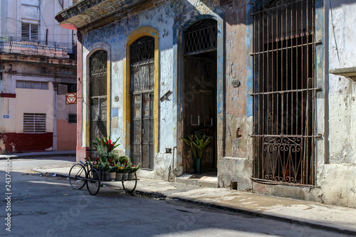 Flowers waiting to be delivered in the streets of old town Havana, cuba