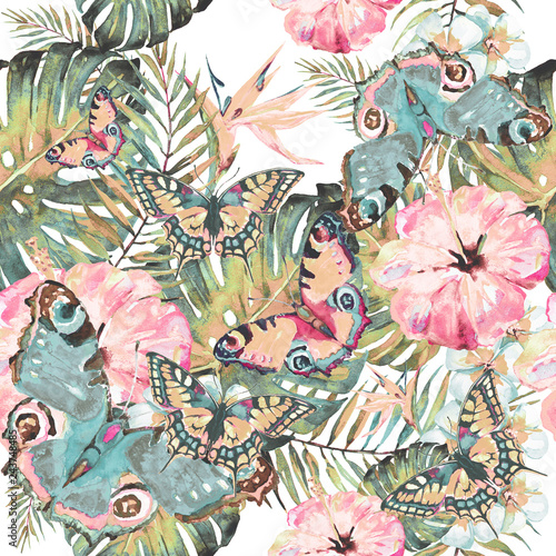 Hawaiian flowers, butterflies, watercolor, exotic plants, isolated on a white - 243748485
