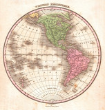 1827, Finley Map of the Western Hemisphere, North America, South America, Anthony Finley mapmaker of the United States in the 19th century