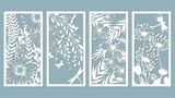 Set template for laser cutting and Plotter. Flowers, leaves for decoration. Vector illustration. Sticker set. Pattern for the laser cut, serigraphy, plotter and screen printing.