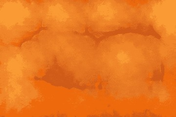 Solid orange texture of an artisanal wall with light reflections