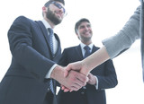 Close-up of business people shaking hands - 243754010