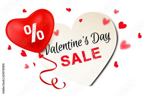 Herz Schild mit Herz Luftballon und Konfetti - Valentine's Day Sale