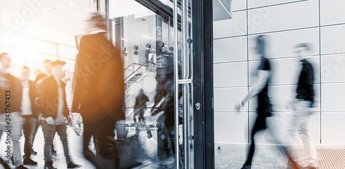 Leinwandbild Motiv blurred business people at a trade fair