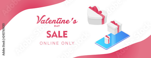 Valentine's day online only sale offer, banner template. 3d heart, Valentines Heart sale tags. Shop market poster design. isometric smartphone