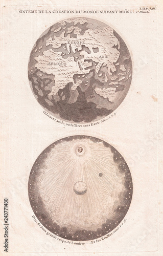 Map of the Ancient World Showing the Creation of the Universe, Calmet 1728
