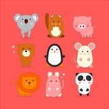 set of cartoon cute animal - vector
