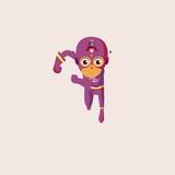 superhero cartoon logo design vector