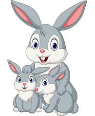 Happy rabbits family