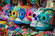 Mexican Skulls on Sale at Street Market in San Miguel de Allende, Mexico, Day of the Dead Concept