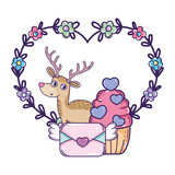 cute love reindeer with cupcake character - 243790838