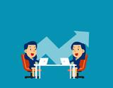 Business colleagues discuss future plans. Concept cute business vector illustration, Direction, Commercial, Company. - 243794422