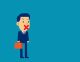 Businessman with sticking tape his mouth. Concept business vector illustration, Cute cartoon character, Freedom of speech. - 243794474