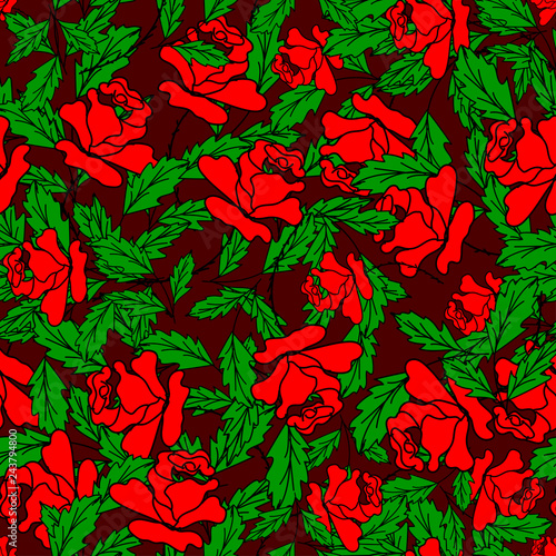 bush of red roses with green branches on a dark red color - 243794800