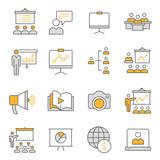 Presentation line icons set. Black vector illustration. Editable stroke. - 243796436