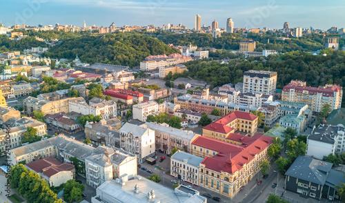 Sticker Aerial top view of Kyiv cityscape, Podol historical district skyline from above, city of Kiev, Ukraine