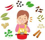 スパイス料理をする女性 - 243800662