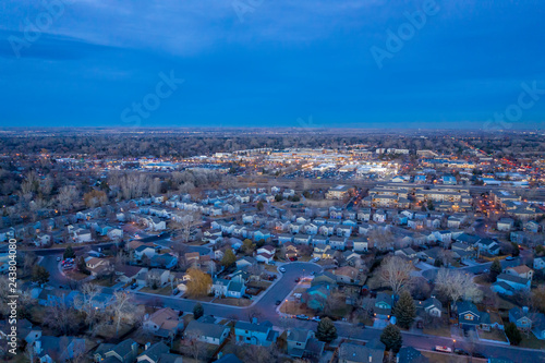 dusk over city of Fort Collins in Colorado