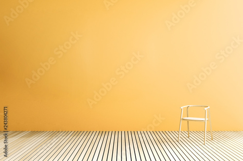 3D Rendering : illustration of Background empty room. blank trade show booth for designers. modern loft wooden tile wall and floor room. empty house. minimalism interior. wooden chair against wall