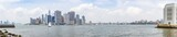 Panorama photo from Governors Island with a stunning view of Jersey City, Manhattan, Brooklyn Bridge and Brooklyn Heights, New York, United States