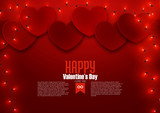Valentine's day romantic love background template with hearts, vector illustration - 243805206