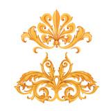 Golden baroque rich luxury vector elements - 243805830