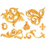 Golden baroque rich luxury vector elements - 243805858