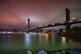 New York city skyline Manhattan Bridge at dusk - 243807602