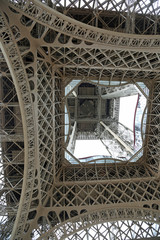 Eiffel tower view from below in the city of Paris