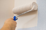 Person applying paint on wall - 243816836