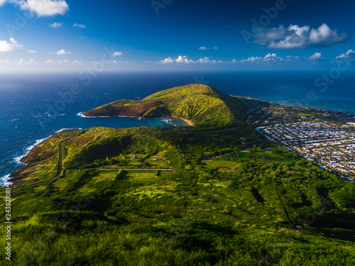Hanauma bay and hilly terrain of the island of Oahu, view from Koko Head crater, Hawaii