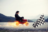 Fast businesswoman with a car wins against the competitors. Concept of success and competition