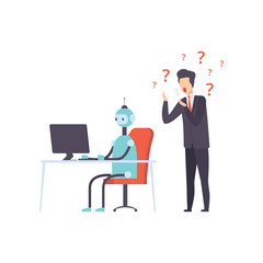 Hiring people or robot, human technology competition, office worker fired from job, vector Illustration © topvectors