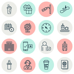 Travel icons set with bag conveyor, hotel building, reception and other resort development  elements. Isolated vector illustration travel icons.