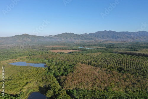 Aerial photo countryside and plantations in Thailand