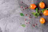 Tomatoes, oregano and pepper on a gray concrete surface. Top view with copy space. - 243838661