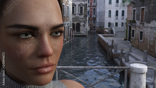 Illustration of the face of a woman in the foreground with a Venice like setting in the background.