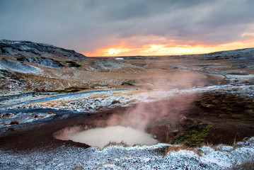 Sunrise at thermal hot springs in Iceland © creativefamily