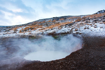 Thermal hot springs near Reykjadalur in Iceland © creativefamily
