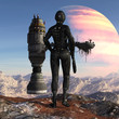 Illustration of a futuristic soldier standing on a mountaintop looking at a spaceship with a figure waving against an alien planet in the sky.