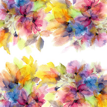 """Постер, картина, фотообои """"Floral border. Watercolor floral frame. Floral greeting card. Painting flowers."""""""
