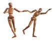 bonhomme en bois, mannequin, wooden man,  bois, poupée, figure, couple, rock and roll , danser, amour, amitié, modèle, isolé, blanc, corps, jouet, figurine, humain, geste, marionnette,
