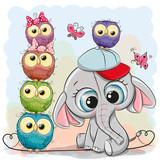 Cute Cartoon Elephant and Owls on a blue background