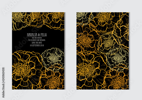 Wall mural floral cards set